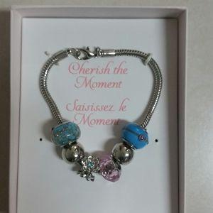 4/$20 NWOT Bracelet Pandora Look Blue Silver